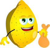 Thief lemon holding a sack Royalty Free Stock Photos
