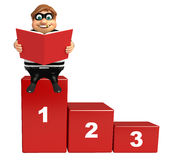 Thief with 123 Level & book. 3d rendered illustration of Thief with 123 Level & book Royalty Free Stock Image