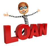 Thief with Loan sign Royalty Free Stock Photos