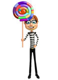 Thief with lollipop Royalty Free Stock Images