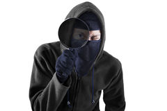 Thief with magnifying isolated Royalty Free Stock Image