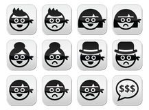 Thief man and woman faces in masks icons set. Vector icons set of thieves, criminals - sad and happy people isolated on white Royalty Free Stock Photo