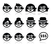 Thief man and woman faces in masks icons set. Vector icons set of thieves, criminals - sad and happy people  on white Stock Photos