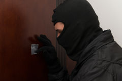 Thief In The Mask Covers Peep Hole Stock Images