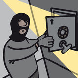 Thief. Masked thief opening bank safe Stock Photography