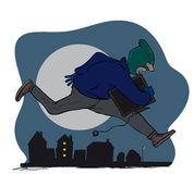 Thief. Masked thief running with stolen goods Royalty Free Stock Image