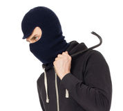 Thief with metal crowbar Royalty Free Stock Image