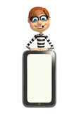 Thief with Mobile. 3d rendered illustration of Thief with Mobile Stock Images