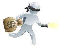Thief with money and flash light Stock Photo