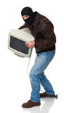 Thief  with monitor Royalty Free Stock Image