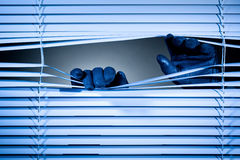 Thief Opening Shutters at Night Royalty Free Stock Photography