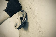 The thief opens the old lock. Safe storage of property royalty free stock photography