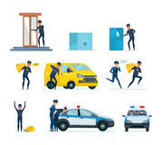Thief penetrating bank, stealing money, thief hacking car, arrest criminal. Set of offenders, thief penetrating a bank stealing money from a safe and a terminal stock illustration