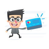 Thief with plastic card Royalty Free Stock Image