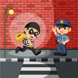 Thief and police cartoon Royalty Free Stock Photography