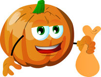 Thief pumpkin holding a sack Royalty Free Stock Photography