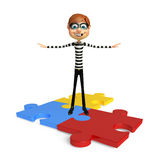 Thief with Puzzle. 3d rendered illustration of Thief with Puzzle Stock Images