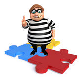Thief with Puzzle. 3d rendered illustration of Thief with Puzzle Royalty Free Stock Photo