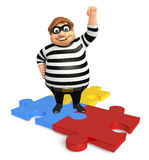 Thief with Puzzle. 3d rendered illustration of Thief with Puzzle Royalty Free Stock Images