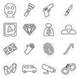 Thief or Robber or Crook or Burglar Icons Thin Line Vector Illustration Set. This image is a vector illustration and can be scaled to any size without loss of Royalty Free Stock Photography