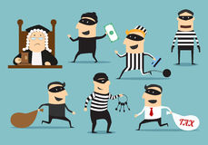 Thief robber and judge, vector crime or punishment Stock Photo