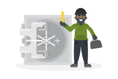 Thief robbing safe. Royalty Free Stock Images
