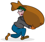 Thief running. An illustration of a thief while runs with a huge bag Royalty Free Stock Photo