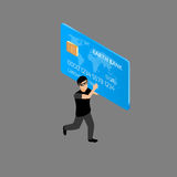Thief running with credit card Royalty Free Stock Images