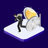 Thief running out of a bank vaul. Isometric concept. Thief running out of a bank vaul. Isometric flat 3D  concept Stock Photos