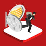Thief running out of a bank vaul. Isometric concept. Thief running out of a bank vaul. Isometric flat 3D  concept Royalty Free Stock Photo