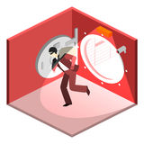 Thief running out of a bank vaul. Isometric flat 3D isolated concept Stock Image