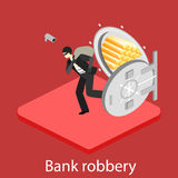 Thief running out of a bank vaul. Isometric flat 3D isolated concept Royalty Free Stock Images