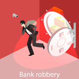 Thief running out of a bank vaul. Isometric flat 3D isolated concept Royalty Free Stock Photos