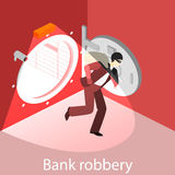 Thief running out of a bank vaul. Isometric flat 3D isolated concept Royalty Free Stock Photography