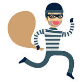 Thief Running Robbery. Funny thief running happy with sack on robbery Royalty Free Stock Photo