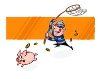 The thief runs after the piggy bank. Vector flat illustration of a pig and a burglar. Image is isolated on white background. Ready vector illustration
