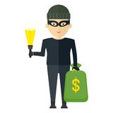 Thief with sack money Stock Images