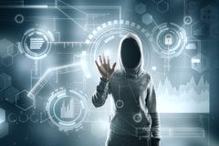 Thief and security concept. Hooded female hacker using digital business interface on blurry background. Thief and security concept. Double exposure stock photos