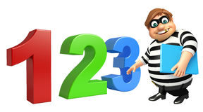 Thief with 123 sign and book Royalty Free Stock Photos