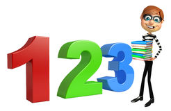 Thief with 123 sign and books. 3d rendered illustration of Thief with 123 sign and books Royalty Free Stock Image