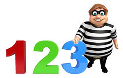 Thief with 123 sign. 3d rendered illustration of Thief with 123 sign Stock Images