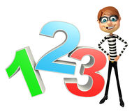 Thief with 123 Sign. 3d rendered illustration of Thief with 123 Sign Royalty Free Stock Photo