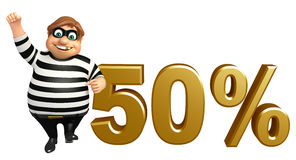 Thief with 50% sign Royalty Free Stock Photo