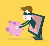 Thief steal piggy bank from computer monitor. Business and Internet Risk. Royalty Free Stock Images