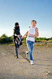 Thief stealing a backpack royalty free stock photos