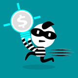 Thief stealing bulb and intellectual right Royalty Free Stock Photo