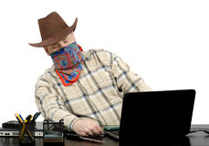 Thief stealing data from another laptop using usb flash drive Royalty Free Stock Photo