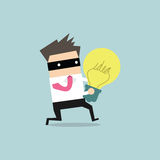 Thief stealing idea businessman Royalty Free Stock Photo