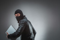 Thief stealing a laptop computer. Isolated on gray background. Studio shot Royalty Free Stock Photography