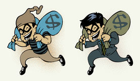 Thief stealing money. A businessman  and thief stealing two bag of money with smile Royalty Free Stock Images